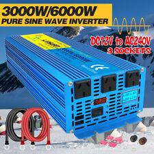 3000w 6000w pure sine wave power inverter DC 12v to AC 240v car converter LCD