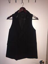 Rag & Bone Black Racer Back Dress Vest With Leather Collar Size XXS
