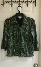 Clio, women's striped blouse, greens, 3/4 sleeve,  size small