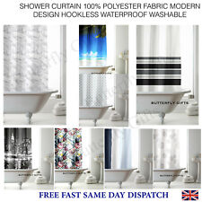 SHOWER CURTAIN 100% POLYESTER FABRIC MODERN DESIGN HOOKLESS WATERPROOF WASHABLE