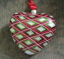NIB LG WATERFORD Holiday Heirlooms GLASS PLAID HEART Christmas Ornament~MSRP~$40