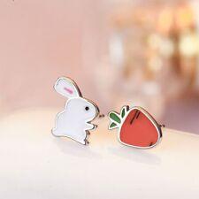 Cute Asymmetric Rabbit Carrot Women Gift Stud Earring Ear Stud Fashion Jewelry
