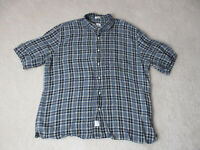 Peter Millar Button Up Shirt Adult Extra Large Gray Brown Plaid Casual Camp Mens