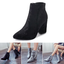 Womens Ladies Chelsea Ankle Boots High Block Heel Side Zip Casual Shoes Sizes