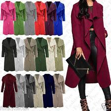 Ladies Womens LONG Waterfall Trench COAT Collar Belt Jacket Lush Wrap PLUS 8-20