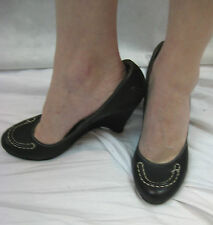 CMC Costume National Size 38.5 or 7.5 Black Court Wedge Pump NEW