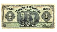 1911 One 1 Dollar Dominion Canada Black Line Series A Circulated Banknote Q955