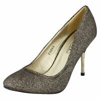 Spot On F9563 Ladies Black/Gold Glitter Sparkly Stiletto Court Shoes