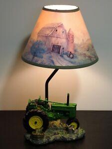 "John Deere Tractor Table Lamp Resin 15"" Vintage 1999 Green Original Shade Nice!!"