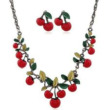 Cherry Women Chain Pendant Crystal Statement Choker Bib Necklace Set Earrings
