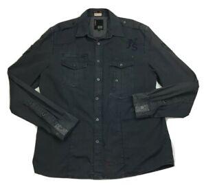 Jack & Jones Mens Brass Snap Grey Long Sleeve Shirt/Jacket Sz XL