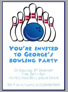 personalised paper card party invites invitations BOWLING PARTY GAMES #2