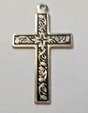 Vintage Black Enamel & Silver Tone Cross Crucifix Pendant