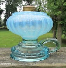 Antique Victorian Opalescent Blue Glass Spark Finger Kerosene Oil Lamp