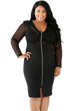 Black Plus Size Dotted Sheer Mesh Bodice Party Cocktail Dress Size XL