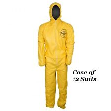 Dupont Tyvek Tychem Qc127s Yellow Chemical Hazmat Coverall Suit Case Of 12