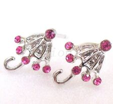 Girl Lady New White Gold Plated Small Hot Pink Crystal Stud Earrings umbrella