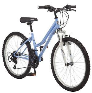 """Girl's 24"""" Roadmaster Granite Peak 18-Speed Mountain Bike, Light Blue, Ages 8+"""