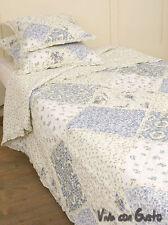 Gesteppte Tagesdecke Millefleur blau weiß 180x270 Baumwolle clayr & eef
