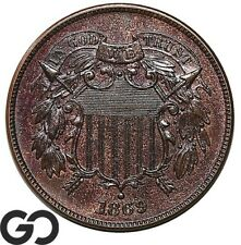1869 Two Cent Piece, Tough This Nice, Very Sharp Solid Gem BU++