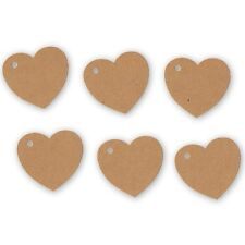 100 Heart Tags In Kraft - Valentines - Wedding - Wish Tree Tags. No String.