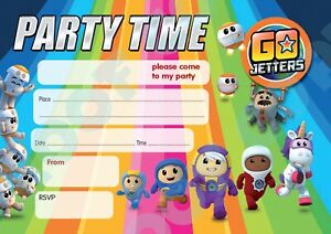 #102 GO JETTERS - Pack of 10 kids children birthday party INVITATIONS