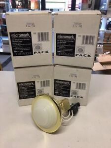 4 X IP44 SHOWER LV SPOT LIGHTS BRASS + GLASS SHADE