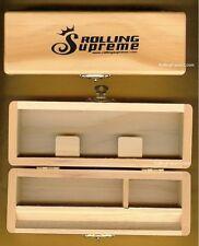 "Rolling Supreme Small Wood Stash Box Cigarette Rolling Paper Tray Case 6"" x 2"""