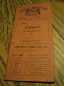 1956 Railway Employees Annual Time Book Loganspport IND ( Error Logansport )