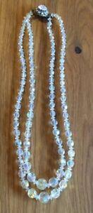 Beautiful Aurora Borealis Double Strand Necklace With Pretty Clasp