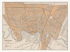 Old Antique Decorative Map of Winnipeg Canada Chalifour ca. 1915