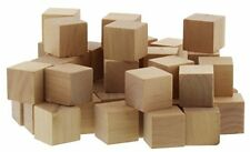 50pc Blank Unfinished Natural Wood Art Craft Stacking Toy Cubes Blocks 1in 2.54
