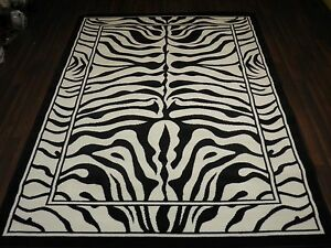 TOP QUALITY ZEBRA DESIGN WOVEN RUGS 120CMX170CM 6FTX4FT GREAT QUALITY BLACK NEW