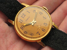 Rare soviet POBEDA watch Golden Guilloche Dial, Gilt case USSR *SERVICED* '1980s