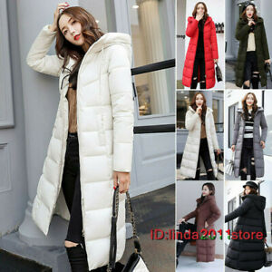Women's Winter Hooded Quilted Outwear Padded Jacket Parka Down Cotton Long Coat