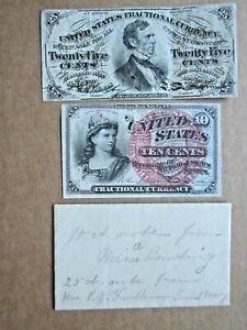 Fractional Currency Fr 1259 & Fr1294 with contemporary envelope