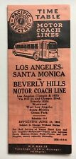 Vintage 1941 Pacific Electric La-Santa Monica Timetable Beverly Hills Motorcoach