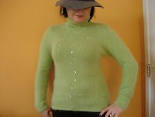 Lime color machine Knitted angora turtle neck  Sweater  S NWOT