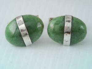 ANTIQUE MEXICAN STERLING SILVER GREEN JADE STONE CUFFLINKS