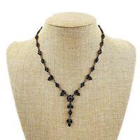 Vtg Silver Tone Black Jeweled Rhinestone Delicate Necklace Victorian Dainty