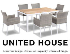 Outdoor Wicker Teak Top 6 Seater Dining Table and Chairs Rattan Furniture Set