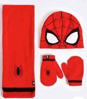 NEW BOYS SPIDER-MAN HAT SCARF & MITTENS SET MARKS & SPENCER MARVEL RED MIX