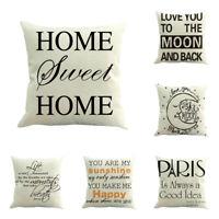 Vintage Funny Words Cotton Linen Throw Pillow Case Cushion Cover Home Sofa Decor