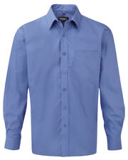 Russell Collection Long Sleeve Pure Cotton Formal Shirt L Aztec Blue