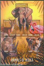 GHANA  2013  ANIMALS OF AFRICA ELEPHANT LEOPARD RHINOCEROS FLAMINGO IMPALA SHEET