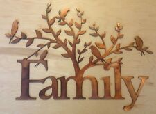 Family with Tree and Birds Rustic Copper Patina Metal Wall Art