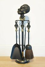 Vintage African Tribal Companion Set, 4 Piece, Black Gold, Metal, Woman, Poker.