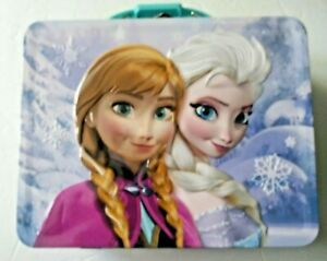 Disney Frozen Metal Embossed Storage / Lunch Box Anna &  Elsa - Sisters Forever