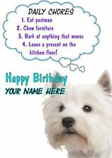 Westie Rules Birthday PIDS35  Personalised Card Dad mum son