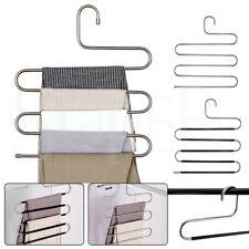 5 Layer Clothes Hanger Pants Ties Trouser Space Saving Organizer Scarf Coat Rack